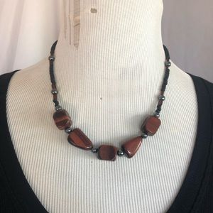 Tiger eye & Hematite necklace hand beaded NWOT